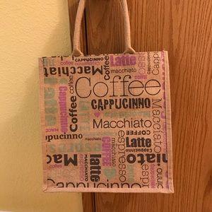 Burlap COFFEE tote bag! New